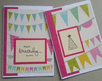 Birthday Bunting - set of 2 handmade cards - hand stamped - stampin up