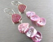 BIGGEST SALE EVER Pink Druzy and Pearl Dangle Sterling Silver Earrings