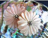 BIGGEST SALE EVER Blush Pink Mother Of Pearl Floral Sterling Silver Earrings