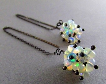 25% Off Summer Sale Ethiopian Opal With Oxidized Sterling Silver Threader Earrings