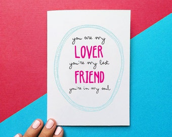 valentine card anniversary card romantic card you are my lover you're my best friend you're in my soul rod stewart quote card birthday card