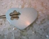 vintage barrette , pale blue  heart, soft glow, flower cutout,