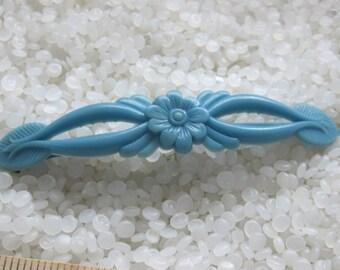 Vintage barrette  1940s blue floral, blue flowers
