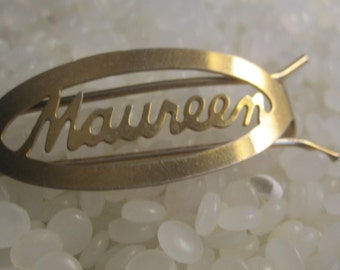 vintage barrette, with the  name Maureen, gold tone metal