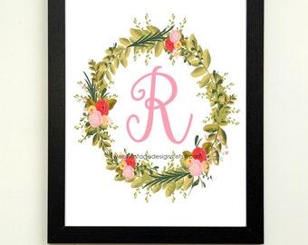 Letter R Printable, Instant Download, Nursery Wall Art Girl, Nursery Decor, Floral Monogram, Baby Gift, Baby Shower Gift, Letter R Wall Art
