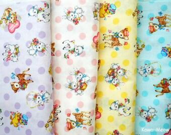 Japanese Fabric - QUILT GATE - Dear Little World Cute Animals - 4 Fat Quarter Bundle Set (ha160804)