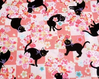 Beautiful Kimono Fabric - Black Cat Sakura on Pink - Half Yard (i160610)
