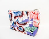 Zipper Pouch, Fabric Pouch, Medium Pouch, Cosmetic Bag, Toiletry Bag, Bag, Clutch, Kaffe Fasset Collective Gertrude Heather Purple Flowers