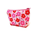 Zipper Pouch, Fabric Pouch, Pink Floral Pouch, Coin Purse, Change Pouch, Pouch, Gift for Her, Wife Gift, Valentine's Day Gift, Pink Gift