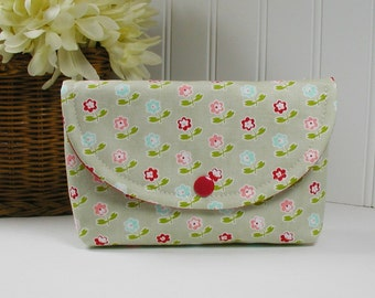 Snap Pouch, Large Snap Pouch, Cosmetic Pouch ... Vintage Picnic Rosie in Gray