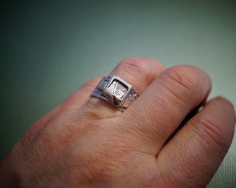 NEW Texture Meteorite Band  Ring  Silver Only Time  Will Tell Ring for Men or Women  Canada made