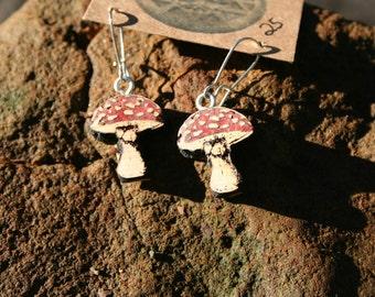 Juniper Wood  Mushroom  Inlaid  Coral Earrings- - Wooden Jewelry, Boho Jewelry