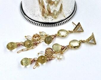 25% SALE Lemon Quartz Boho Dangle Earrings Wire Wrap Gold Fill Pink Rose Gold Lemon Yellow Quartz Earrings Imperial Topaz Gold Post Earring