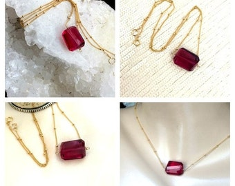 50% OFF SALE Fuchsia Hot Pink Necklace 14kt Gold Fill, Wire Wrap, Minimalist Jewelry, Simple Everyday, Hot Pink Gemstone Slice Nugget Layeri