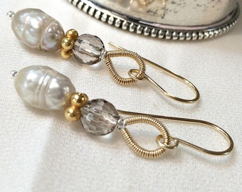 Beige Pearl Earrings Laser Facet Pearls Smokey Quartz Gold Dangle Elongated Beige Pearl Earrings Everyday Simple Minimalist