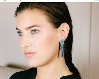 CUPID SALE Black Opal Dangle Earrings, Australian Black Opal, Long Post Earrings, Blue Lapis  Blue Green Gemstone Earrings, October Birthsto
