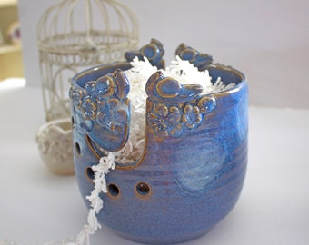 Lovebirds Knitting Bowl - Bird Yarn Bowl - Knitting Bowl - Yarn Holder - Large Yarn Bowl