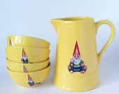 Gnome Bowls and Pitcher Set, Vintage Bowls, French Kiss That Frog,  Marcel la brouette, Wheeelbarrow, Gift Package