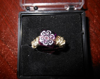 Wire Work Ring with Flower Bead Size 4 1/2 Hand Made
