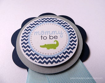 Alligator Baby Shower Decorations, Chevron Baby Shower Mom To Be PIN, CUSTOM COLORS