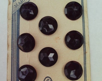 8 Vintage Faceted Black Buttons on Card