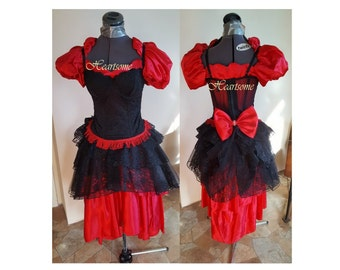 Masquerade sassy saloon gown dress western 7 pc costume red black Victorian top hat steampunk saloon