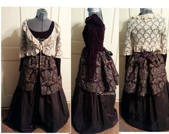 Victorian Style Gown Dress bustle plum purple velvet lace jacket OOAK ball stage costume