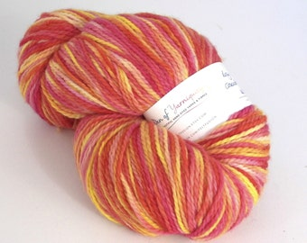 Hand dyed chunky/bulky weight wool yarn for knitting, crochet, felting. Rosy Maple Haze - 250g Peruvian Highland Cascade Eco, pink, orange