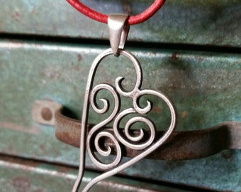 Bohemian Heart Necklace - Sterling Silver and Red Hand Dyed Leather Cord -Handmade