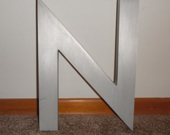 """Vintage Metal Letter """"N"""" 1960s Mid Century Brushed Aluminum INDUSTRIAL Salvage Man Cave Wall Decor Large 14"""" Tall"""
