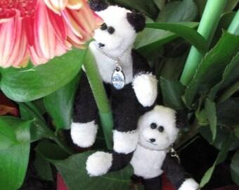 ON SALE Handmade Amigurumi Miniature Panda Bears, Pair of Tiny Panda Bears, Minature Bears with Laugh and Live Message, Animal Bear Pair Set