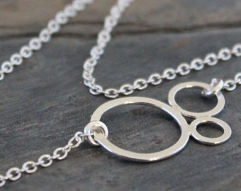Bubbles Sterling Silver Necklace, pendant, circle, minimalist, modern, simple