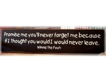 Promise me you'll never forget me... Winnie the Pooh wood sign