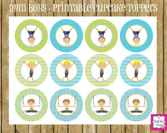 INSTANT DOWNLOAD - PRINTABLE Party Rounds - Gym Boys Gymnastics Cupcake Toppers by The Birthday House