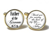 Father of the Groom Cuff Links, Wedding Cuff Links, Father Keepsake Cuff Links, Personalized Cuff Links,  Style 686