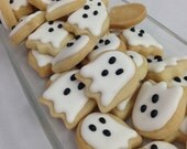 MINI SUGAR COOKIES, Halloween Ghost Itty Bitty Sugar Cookies, 1/2 Pound