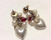 Valentines day hearts and bezel set acrylic red cabochons cluster earrings.