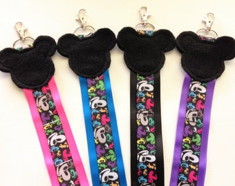 One Rainbow Mickey Mouse Cheer Bow Hair Clip Holder