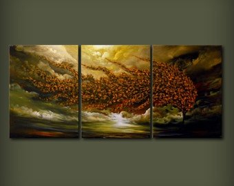 66 inch painting quirky surreal wall art wall decor home and living tree painting art acrylic original painting Wall hanging gift