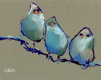 Bird Illustration Art, Giclee Bird Drawing, Ink Pastel Drawing, Blue Green Print, Kids Room Art, Wall Art, Blue Birds, Abstract Drawing