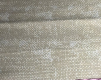 "DESTASH 50"" Quilter's Cotton Fabric Sandy Tan and White"