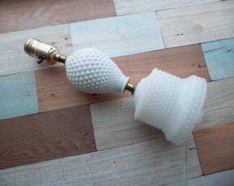 Vintage Milk Glass Hobnail Lamp