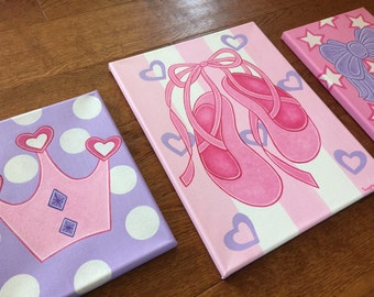 Set of three-Princess Ballerina Ballet Pink Purple Name Canvas Nursery Bedroom Wall Art-can also be monogrammed