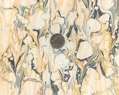 Marbled Paper Featuring a Pale Blue-green, Yellow Ochre, and Dark Gray Double Marbled Pattern