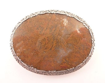 SALE --- Antique Victorian Sterling Set Giant Agate Slice Brooch