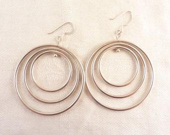 Vintage Sterling Triple Hoop Hook Earrings