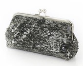 Metallic Pewter Charcoal Sequins Clutch | Bridesmaids | Mother's Clutch