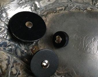 Black Leather Pedestal Button Closures- Jul Designs