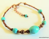 Turquoise and Copper Bracelet, Copper Jewelry, Handcrafted Jewelry, Gemstone Jewelry, Gift for Her