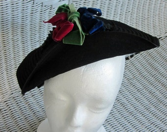 Black Felt Chinese Style Hat Vintage 30's Velvet Ribbons Made in USA